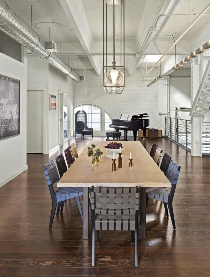 einrichtungsideen wohnidee wohnzimmer esszimmer einrichten röhren industrell esstisch klavier