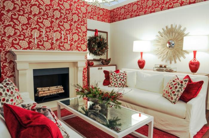 Einrichtungsideen Wohnzimmer Wandgestaltung Ideen Wandtapete Rot Floral Roter Teppich