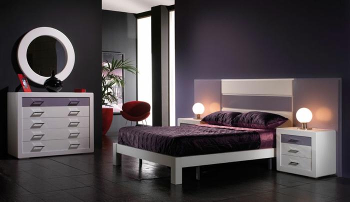 farbgestaltung schlafzimmer wanddekoration lila wandfarbe wandgestaltung