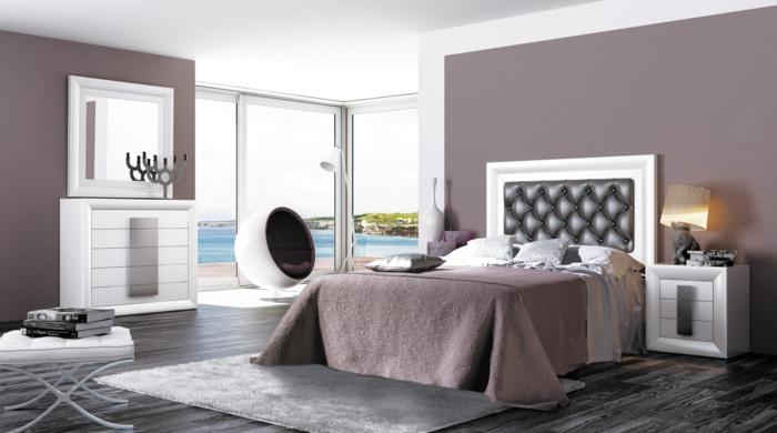 farbgestaltung schlafzimmer wanddekoration pastell lila wandfarbe