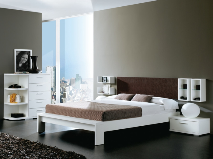 farbgestaltung schlafzimmer wanddekoration wandfarbe grau weißes bettgestell modernes design