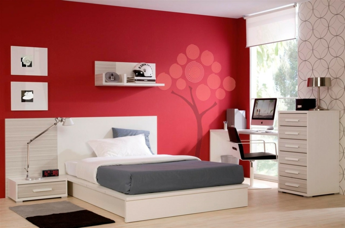 Schon Farbgestaltung Schlafzimmer Wanddekoration Wandfarbe Rot Wandtattoo  Wandgestaltung 33 Farbgestaltung Ideen Für Ihre Gemütliche Schlafoase ...