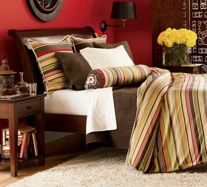 farbgestaltung schlafzimmer wanddekoration wandfarbe rot