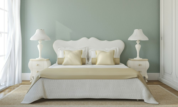 farbgestaltung schlafzimmer wanddeko seladongrün weißes kopfteil klassisch