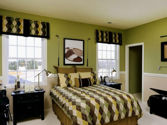farbgestaltung schlafzimmer wandfarbe apfelgrün wanddekoration