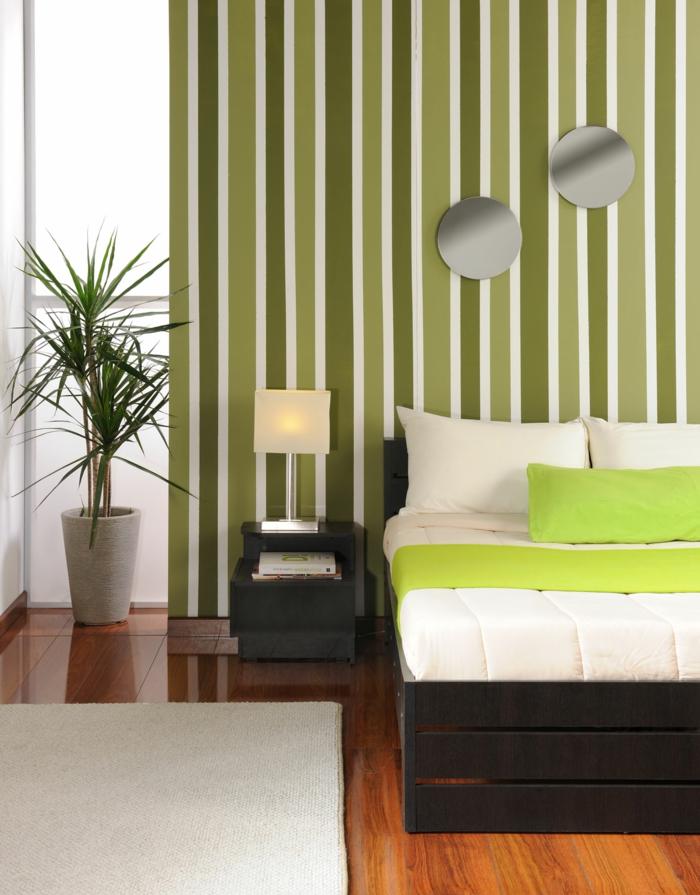 farbgestaltung schlafzimmer wandfarbe grün weiß wanddeko wandgestaltung