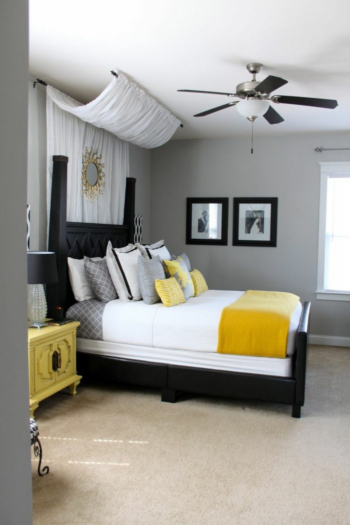 farbgestaltung schlafzimmer wandfarbe grau wanddekoration deckenventilator