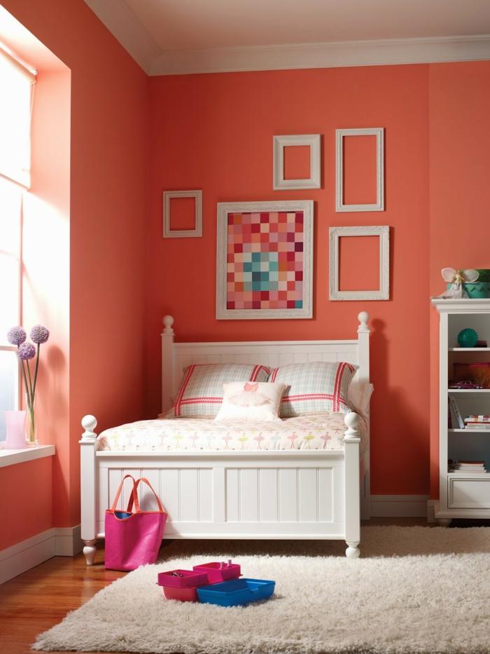 farbgestaltung schlafzimmer wandfarbe orange pastell bildrahmen wandgestaltung wanddekoration