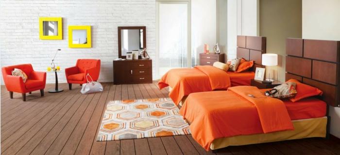 farbgestaltung schlafzimmer wandfarbe weiß ziegelwand wandgestaltung orange textilien