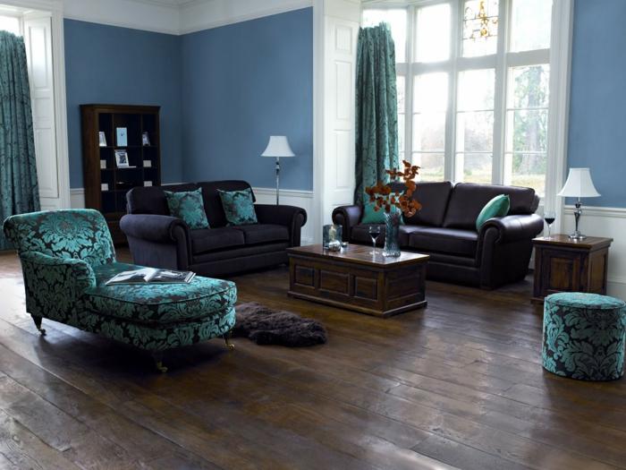 Farbgestaltung Wohnzimmer Blaue Wandfarbe Blumenmuster Ledersofa