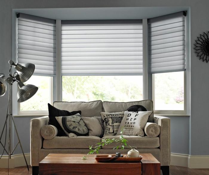 Fenster Sichtschutz Jalousien Hellgrau Modern Elegant Wohnzimmer Industrieller Stil