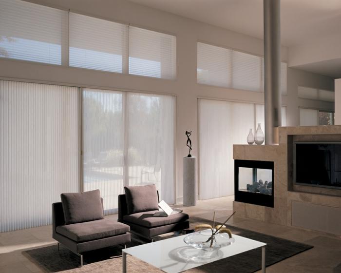 Fenster Sichtschutz Moderne Plissees Sonnenschutz Wohnzimmer