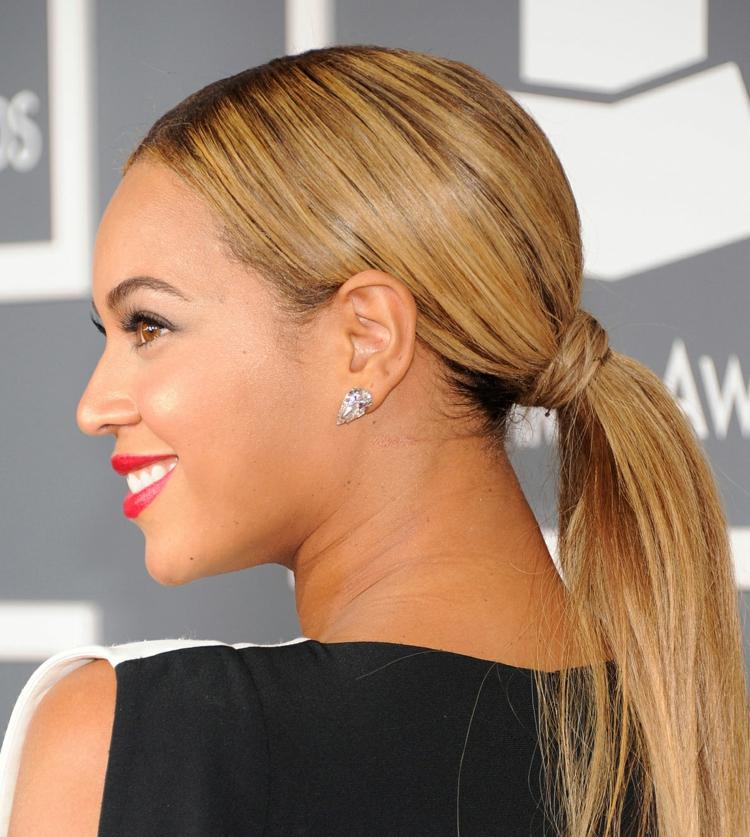 festliche Frisuren für Silvester Pferdeschwanz Beyonce