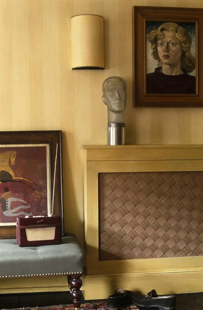 heizkörperverkleidunggeflochten wohnzimmer leinwand helles holz wandverkleidung