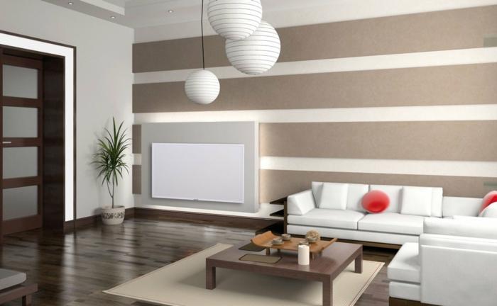 heizkörperverkleidung weiße metallplatte runde papierpendelleuchten gestreifte wandgestaltung