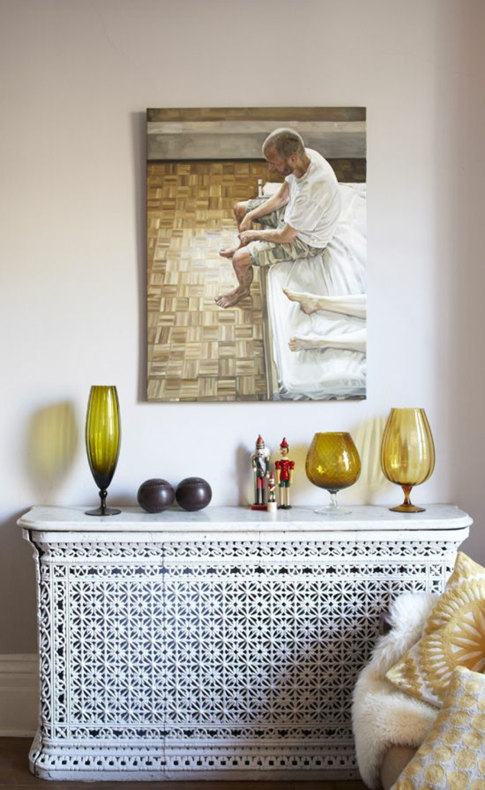 heizkörperverkleidung wohnzimmer gitter weiß florale muster leinwand wanddekoration buntes glas