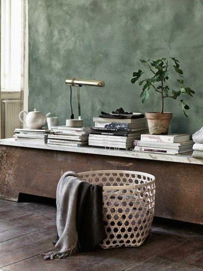 heizkörper verkleidung wohnzimmer shabby chic betonoptik regal bücher geflochtener korb