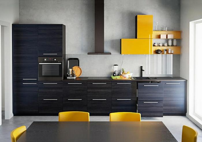 idee kche landhausstil wei ikea ikea kchen modern 2015 dunkles holz fronten gelbe akzente decoist - Landhausstil Modern Ikea