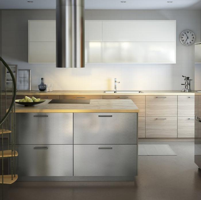 ... küchen modern 2015 helles holz fronten arbeitsfläche modulare küche
