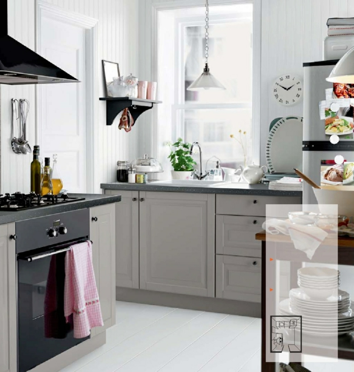 Grey And White Cabinets In Kitchen