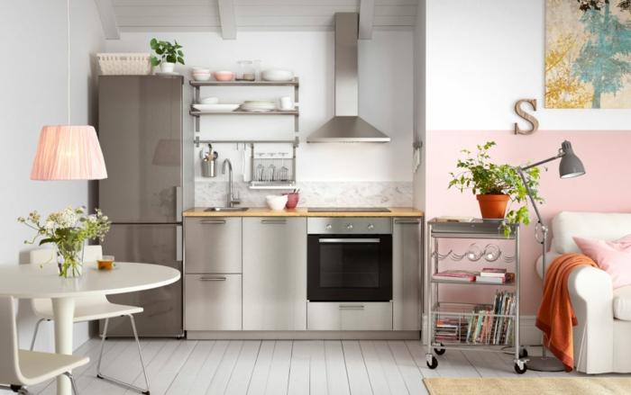 Ikea Küchen Modern 2015 Metallglanz Matt Fronten Abzugshaube Offene Regale