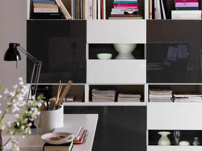 Wunderbar Ikea Wohnwand Besta Modell Weiß Schwarz Hochglanz Fronten