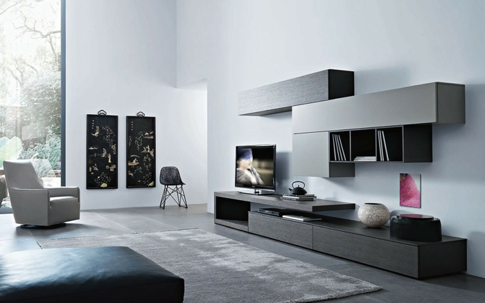 ikea wohnwand graue fronten schränke minimalistisch san giacomo lampo wohnstation.de