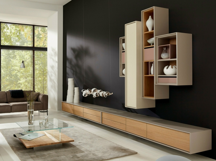 moderne wohnwand h lsta interessante ideen. Black Bedroom Furniture Sets. Home Design Ideas