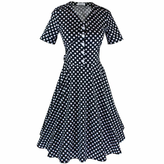 kleider vintage blau polka dot 50er 60er