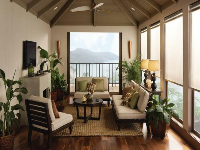 landhausstil wohnzimmer pflanzen sisalteppich tischleuchten