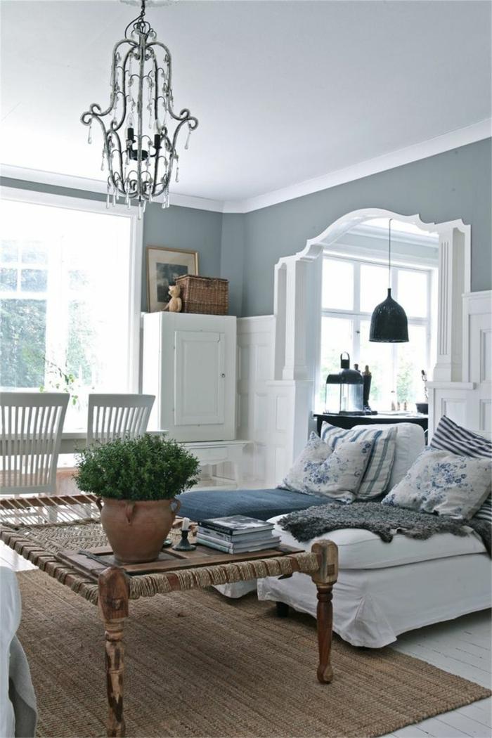 landhausstil wohnzimmer sisalteppich weißes ambiente schwedischer stil