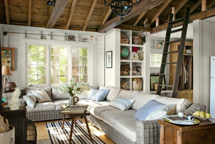 landhausstil wohnzimmer teppichläufer offene regale rattansofa
