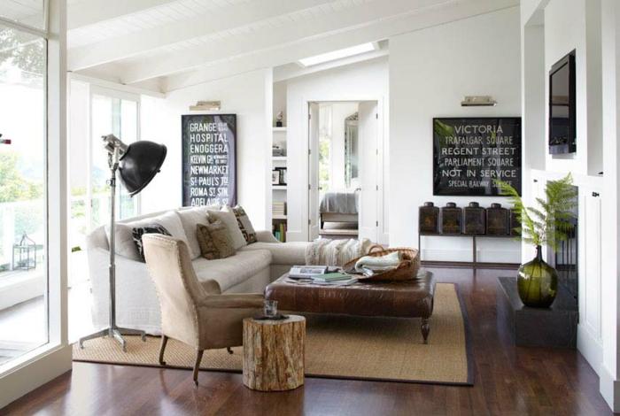 landhausstil wohnzimmer vintage elemente sisalteppich weiße wände