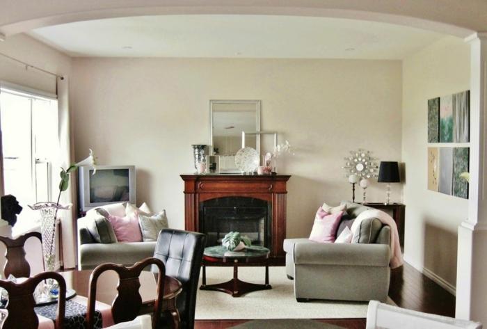 landhausstil wohnzimmer vintage elemente pastellrosa akzente
