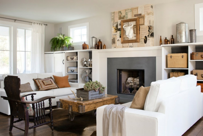 landhausstil wohnzimmer weiß rustikale akzente kamin