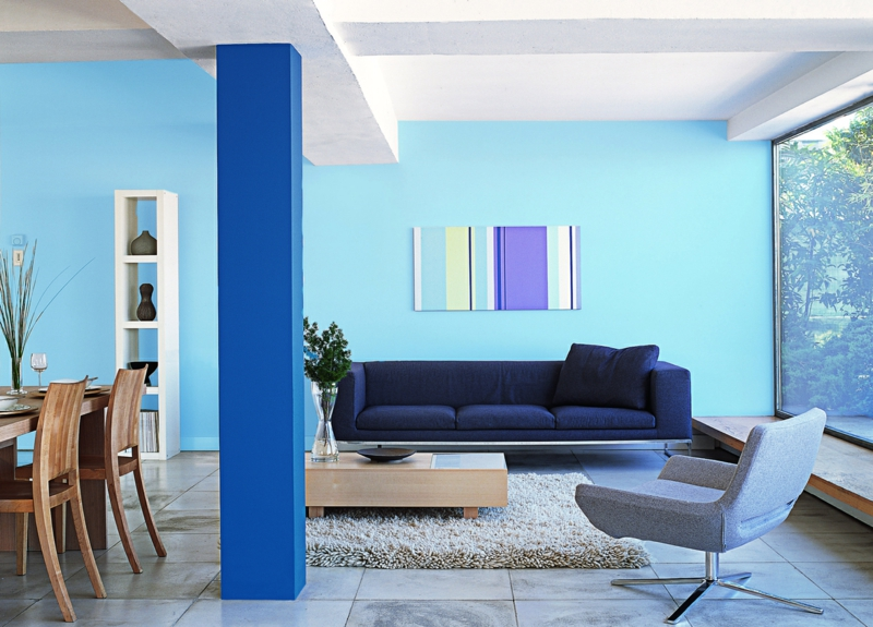 GroBartig Moderne Wandfarben Aussuchen Kalte Wandfarben Kombinieren Blautöne