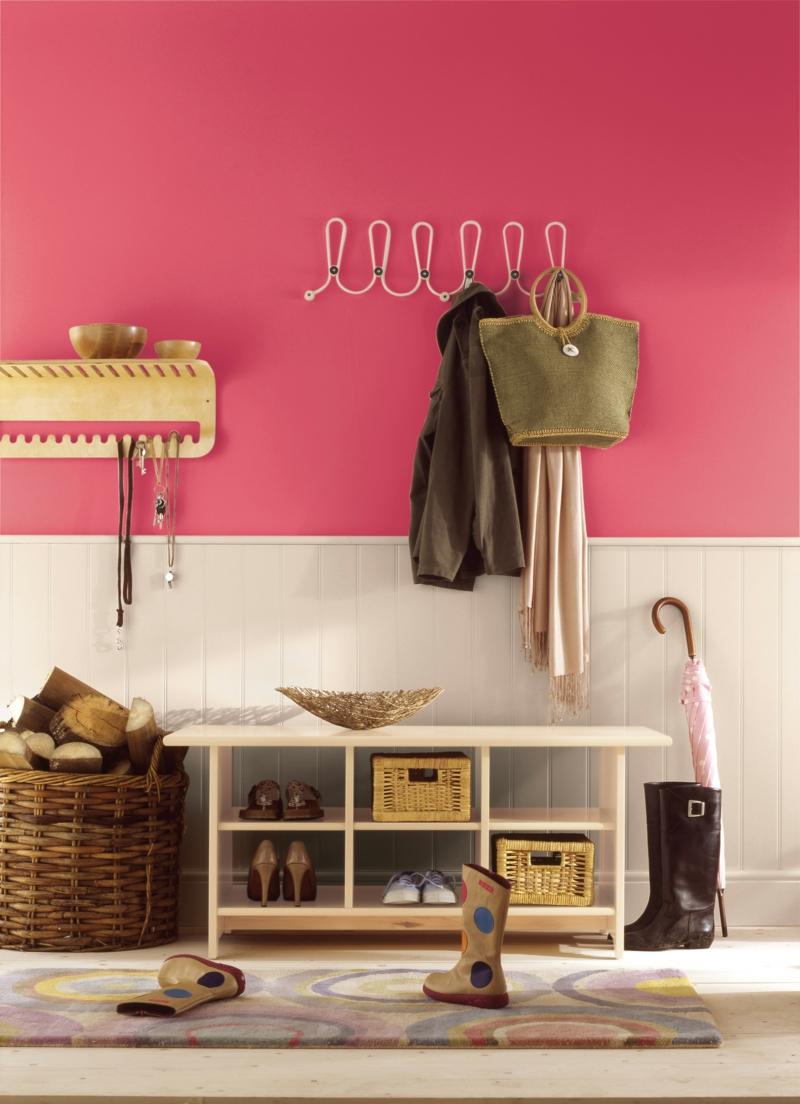 moderne wandfarben rosa pink flur möbel weiß