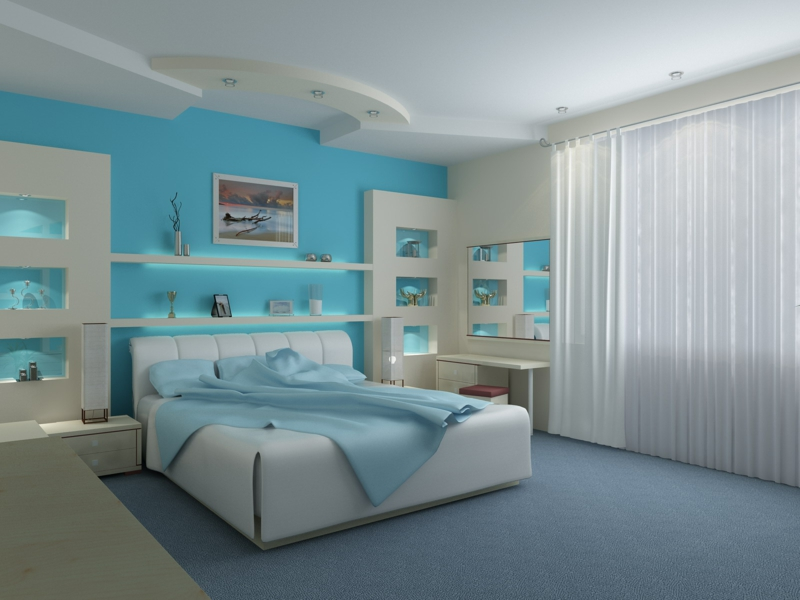 Moderne Wandfarben Schlafzimmer Wandfarbe Blau Hell