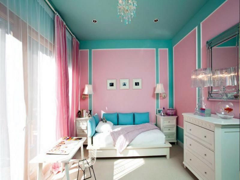 moderne wandfarben kombinieren trendfarben 2016 rosa türkisblau