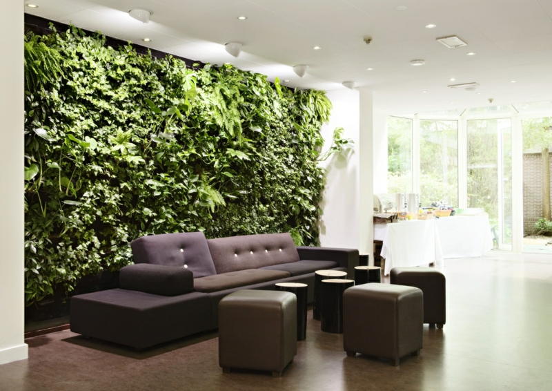 nachhaltige Ideen für kreative Wandgestaltung Wohnzimmer vertikaler Garten