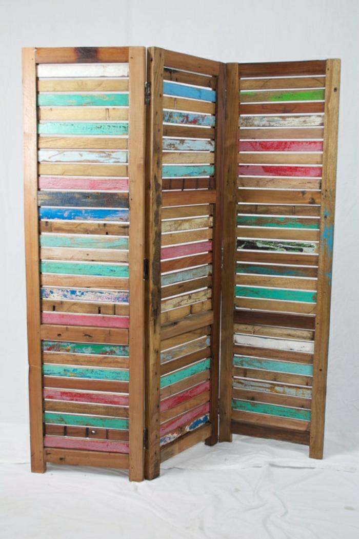 paravent diy ideen raumtrenner holzkonstruktion naturholz holzbohlen holzplatten