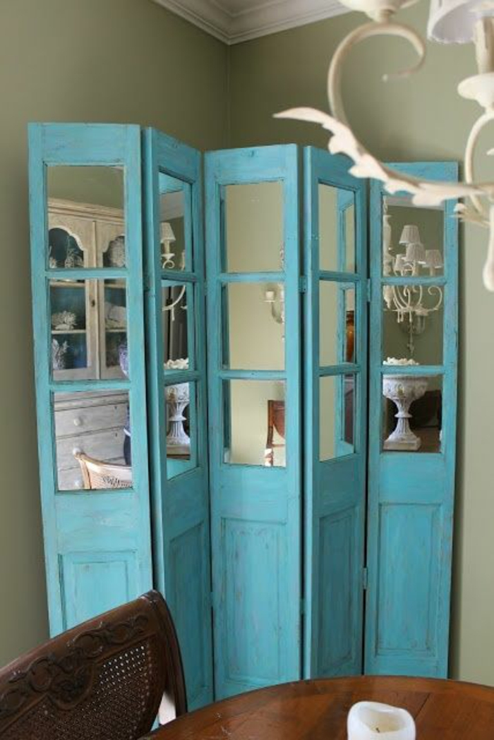 paravents diy ideen raumtrenner holztüren blau spiegel diycraftsdecor