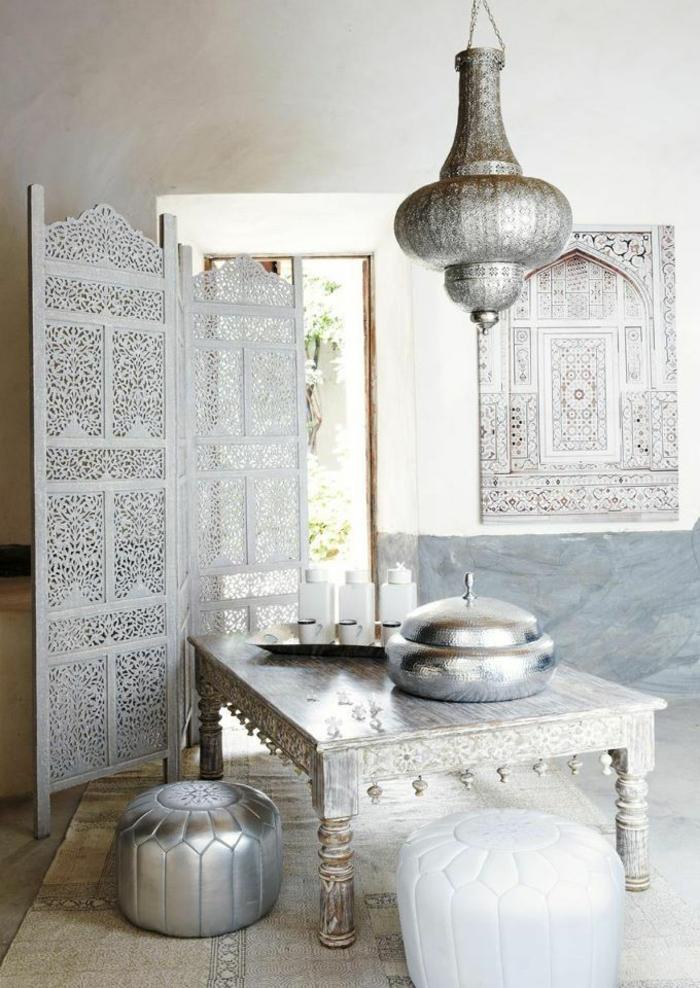 paravents sichtschutz orientalisches design metallene pendellampe silberglanz