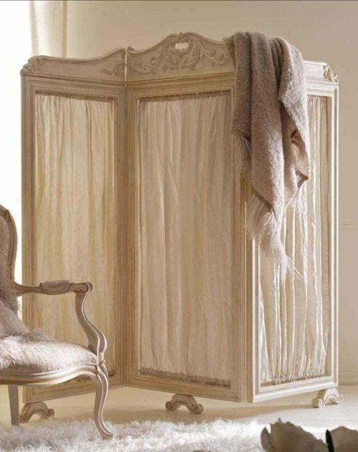 paravent raumtrenner weißes leinen neobarock stil schlafzimmer gosto disto