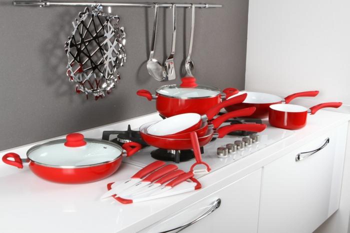 pfanne kaufen keramikbeschichtung rot set keramikpfannen moderne küchenutensilien