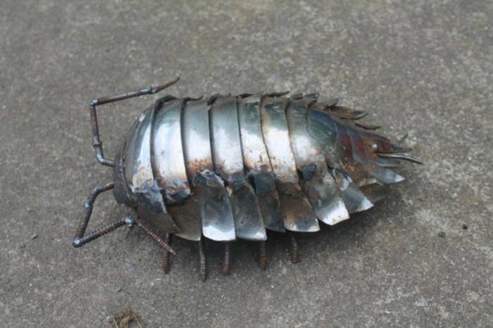 recycling basteln metallfigur insekten assel