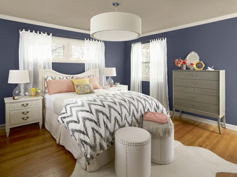 schöne wandfarben ideen schlafzimmer wandfarbe blau