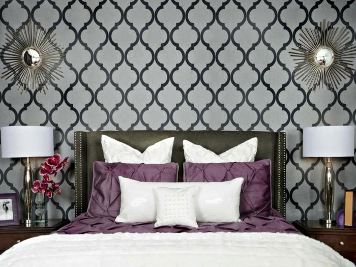 schlafzimmer idee wanddekoration wandtapeten klassische muster