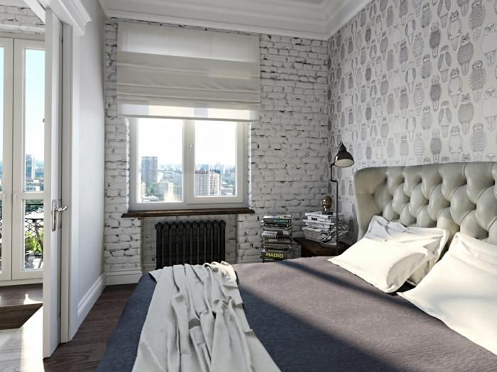schlafzimmer idee wandgestaltung wanddeko tapeten weiße ziegelwand
