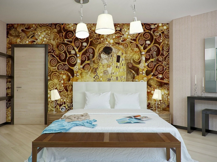 schlafzimmer idee wandtapete klimt kuss gold wandgestaltung wanddekoration